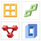 Verschillende optische illusies van onmogelijke voorwerpen vector illustratie