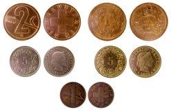 Verschillende oude Zwitserse muntstukken Stock Foto's