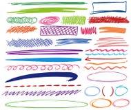 Verschillende penkrabbels in verschillende kleuren Stock Foto's