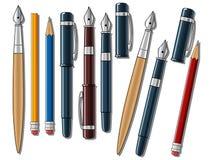 Verschillende pennen en potloden vectorillustratie Stock Foto's