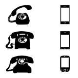 Verschillende pictogrammen met telefoon Stock Foto