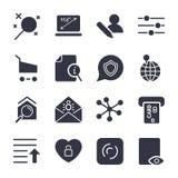 Verschillende pictogrammen voor apps, plaatsen, programma's Geplaatste de pictogrammen van Internet vector illustratie