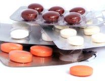 Verschillende pillen in blaren, macro Royalty-vrije Stock Afbeelding