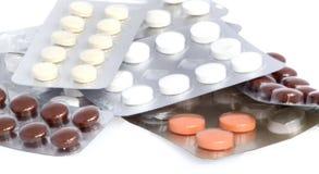 Verschillende pillen in blaren, macro Royalty-vrije Stock Foto's