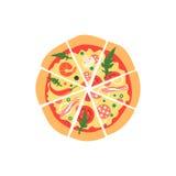 Verschillende pizzaplakken Hoogste mening Royalty-vrije Stock Afbeeldingen