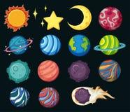 Verschillende planeten in zonnestelsel stock illustratie