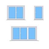 3 verschillende plastic vensters op een witte achtergrond Royalty-vrije Stock Afbeeldingen