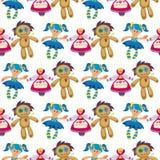 Verschillende poppenstuk speelgoed van het de achtergrond kledings naadloze patroon van het karakterspel de vod-pop van de landbo stock illustratie