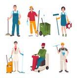 Verschillende portierreeks Mensen met het schoonmaken van de wasmachine van het materiaalvenster stock illustratie