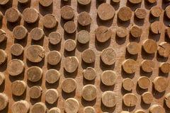 Verschillende rangschikt de stompen op houten vloer hoogste mening natuurlijke oppervlaktetextuur royalty-vrije stock afbeeldingen