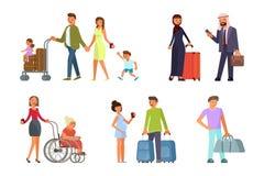 Verschillende reizigerskarakters royalty-vrije illustratie