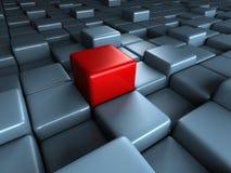 Verschillende rode kubus opmerkelijk op blauwe blokkenachtergrond Royalty-vrije Stock Afbeeldingen