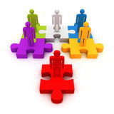 Verschillende rode leider van commercieel team op raadsel royalty-vrije illustratie