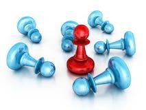 Verschillende Rode Leider Winner Pawn Verschillende 3d bal Stock Afbeelding