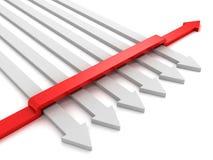 Verschillende rode pijl juiste richting Stock Afbeeldingen