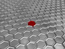 Verschillende rode zeshoek Stock Afbeeldingen