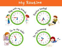 Verschillende routines voor kinderen stock illustratie