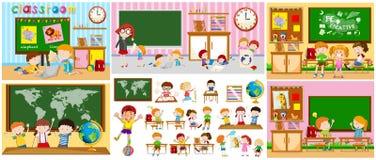 Verschillende scènes van klaslokalen met jonge geitjes Stock Fotografie