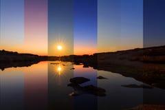 Verschillende schaduwkleur bij het meer in verschillende tijd Stock Afbeeldingen