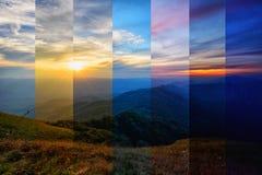 Verschillende schaduwkleur van berg in verschillende tijd Stock Afbeeldingen