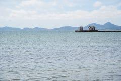 Verschillende schoten van een lantaarnpaal bij de pijler van Mar Menor royalty-vrije stock foto