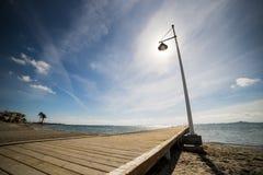 Verschillende schoten van een lantaarnpaal bij de pijler van Mar Menor royalty-vrije stock foto's