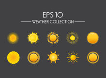 Verschillende silhouetten van zon Stock Fotografie