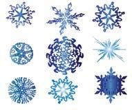 Verschillende sneeuwvlokken die op wit worden geïsoleerde stock illustratie