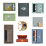 Verschillende soorten brandkastenreeks, het concepten vectordieIllustraties van de bezitsveiligheid op een witte achtergrond word Stock Foto's