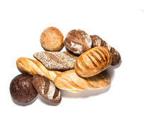 Verschillende soorten brood op wit Stock Afbeelding