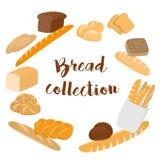 Verschillende soorten broodreeks voor koffiemenu Inzameling van gebakje of bakkerijpunten op wit voor druk of Web worden geïsolee Stock Fotografie