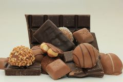 Verschillende soorten chocolade Royalty-vrije Stock Foto's
