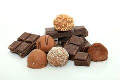 Verschillende soorten chocolade Stock Foto's