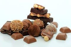 Verschillende soorten chocolade Stock Afbeeldingen