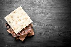 Verschillende soorten chocolade in bars Stock Afbeeldingen