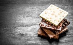Verschillende soorten chocolade in bars Royalty-vrije Stock Afbeeldingen