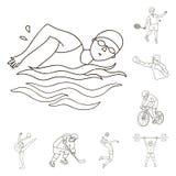 Verschillende soorten de pictogrammen van het sportenoverzicht in vastgestelde inzameling voor ontwerp Atleet, competities het ve stock illustratie