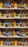 Verschillende soorten families Playmobil stock afbeelding