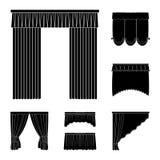 Verschillende soorten gordijnen zwarte pictogrammen in vastgestelde inzameling voor ontwerp Gordijnen en lambrequins het vectorwe stock illustratie