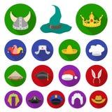 Verschillende soorten hoeden vlakke pictogrammen in vastgestelde inzameling voor ontwerp Illustratie van het de voorraadweb van h Stock Foto