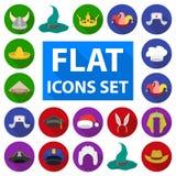 Verschillende soorten hoeden vlakke pictogrammen in vastgestelde inzameling voor ontwerp Illustratie van het de voorraadweb van h Royalty-vrije Stock Afbeelding
