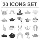Verschillende soorten hoeden zwart-wit pictogrammen in vastgestelde inzameling voor ontwerp Illustratie van het de voorraadweb va Stock Foto