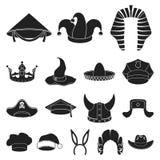 Verschillende soorten hoeden zwarte pictogrammen in vastgestelde inzameling voor ontwerp Illustratie van het de voorraadweb van h Royalty-vrije Stock Afbeelding