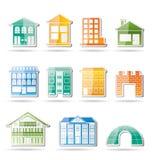 Verschillende soorten huizen en gebouwen Stock Foto