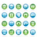 Verschillende soorten huizen en gebouwen Royalty-vrije Stock Afbeelding
