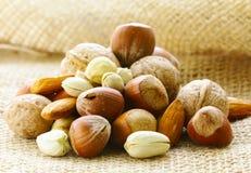 Verschillende soorten noten (amandelen, okkernoten, hazelnoten) Royalty-vrije Stock Fotografie