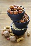 Verschillende soorten noten (amandelen, okkernoten, hazelnoten, pinda's) in een kom Stock Fotografie
