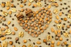 Verschillende soorten noten in de vorm van hart Royalty-vrije Stock Fotografie