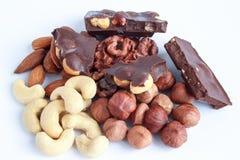 Verschillende soorten noten en chocolade met hazelnoten Royalty-vrije Stock Fotografie