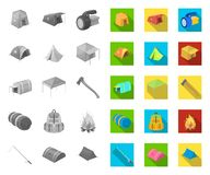 Verschillende soorten tenten mono, vlakke pictogrammen in vastgestelde inzameling voor ontwerp Tijdelijke schuilplaats en huisves stock illustratie